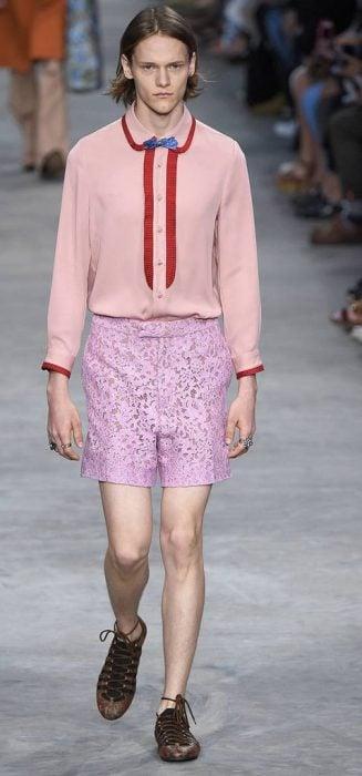 Versace Lace shorts runway