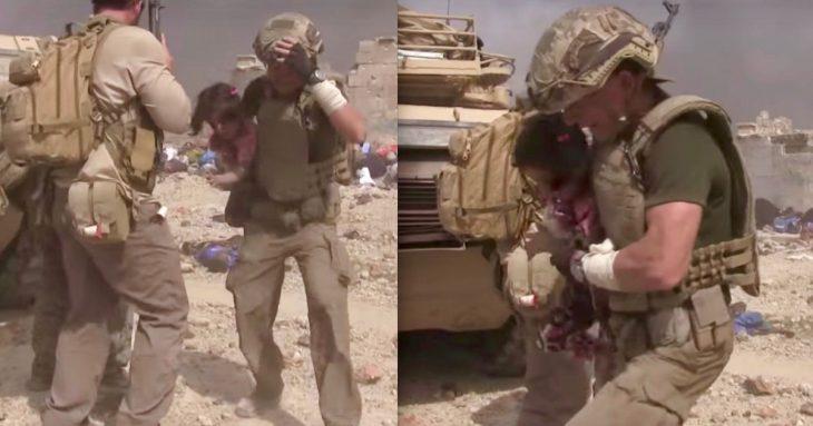 soldado y niña