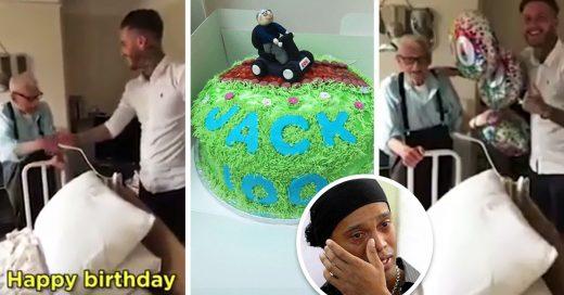 Barbero reúne a toda una comunidad para festejar a un abuelito solitario por sus 100 años