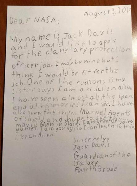niño pide trabajo en la NASA carta