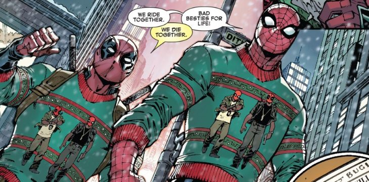 deadpool spiderman amigos