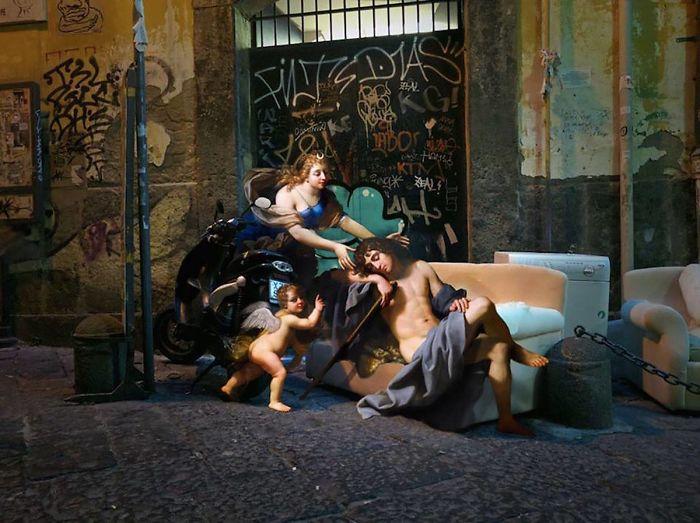 Artista combina el arte renacentista con el mundo real y el resultado es gracioso