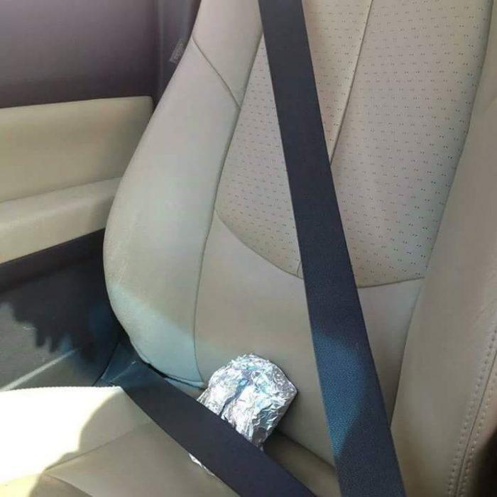 Tacos en asiento de copiloto