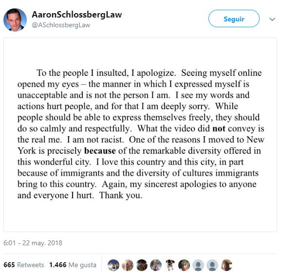 racista disculpandose abogado