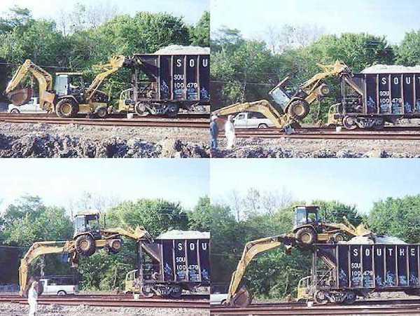 Montando máquina a un tren