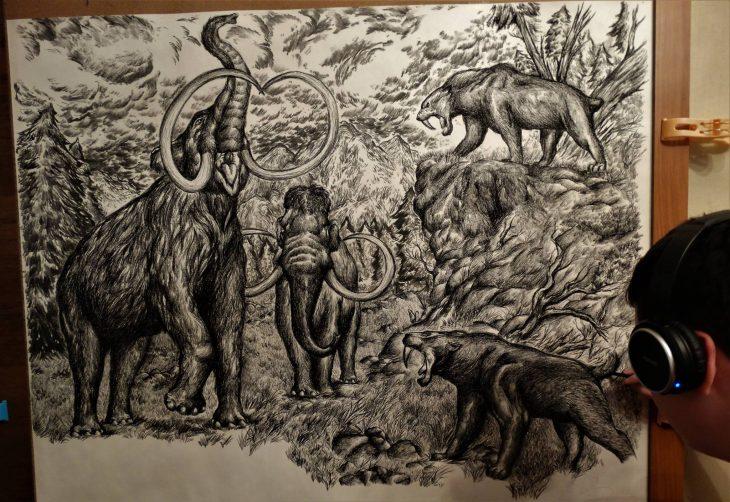 Dušan Krtolica dibujo mamuts