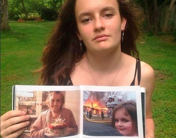Zoe, del meme Niña frente al incendio