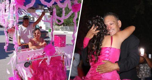 vendedor de raspado hace quinces a su hija
