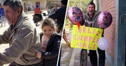 abuelito adorno bicicleta para nieta