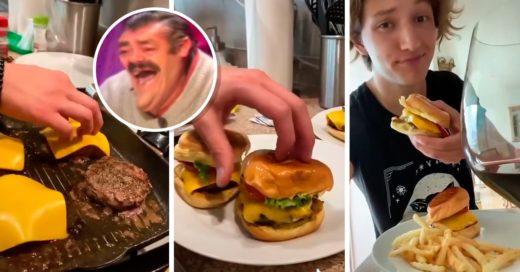 Niño rico hace hamburguesas