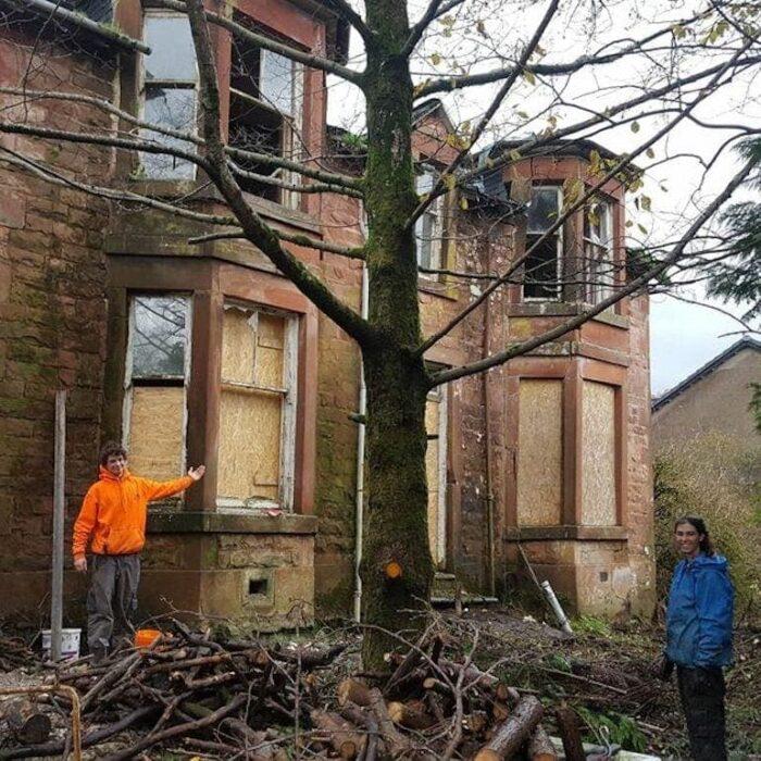 mansión deteriorada