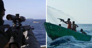 Piratas somalies intentan secuestrar un barco y guardias los reciben con impresionantes disparos