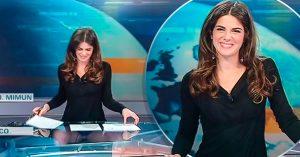 Hermosa presentadora olvida que su mesa era transparente y sí… lo enseñó todo en VIVO