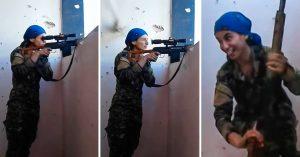 Una bala de ISIS roza su cabeza y casi la mata; esta valiente francotiradora kurda solo se ríe