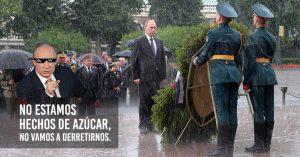 Putín rechaza un paraguas en ceremonia a los soldados caídos; dice: 'no estoy hecho de azúcar'