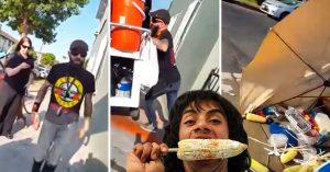 Argentino racista humilla a mexicano en EU y le tira su carrito de elotes; internet está molesto