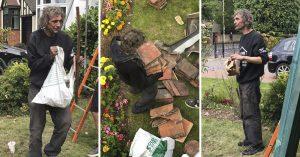 Remodelaban una casa y un indigente les pidió trabajo; nunca habían visto a nadie trabajar así