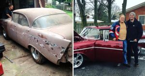 Pasó 1 año restaurando el coche soñado de su abuelo, un Chevy 1957; su reacción es conmovedora
