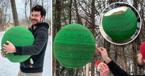 Tardó un año en crear esta esfera hecha de 42,000 cerillos; así se quemó en 1 minuto