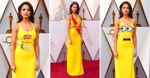 Actriz mexicana llega con vestido amarillo a los Oscar y todos la trolean con MEMES