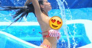 El mejor deporte jamás inventado: Clavadas de Ganso en alberca… ¡en bikini!